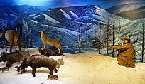猎人冬季山野打猎情景