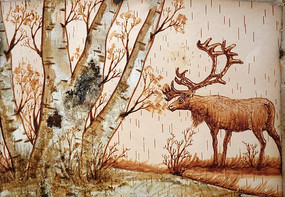 桦树皮画《桦林驯鹿》