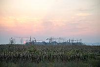 夕阳时刻的田园风光
