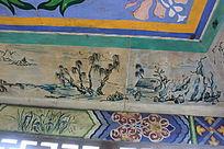 公园凉亭水墨墙绘一角图片
