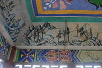 群山水墨墙绘图片