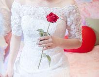手持红玫瑰的新娘