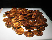 古代金币摄影图片