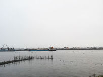 江水傍晚素材背景图渔船自然风格背景