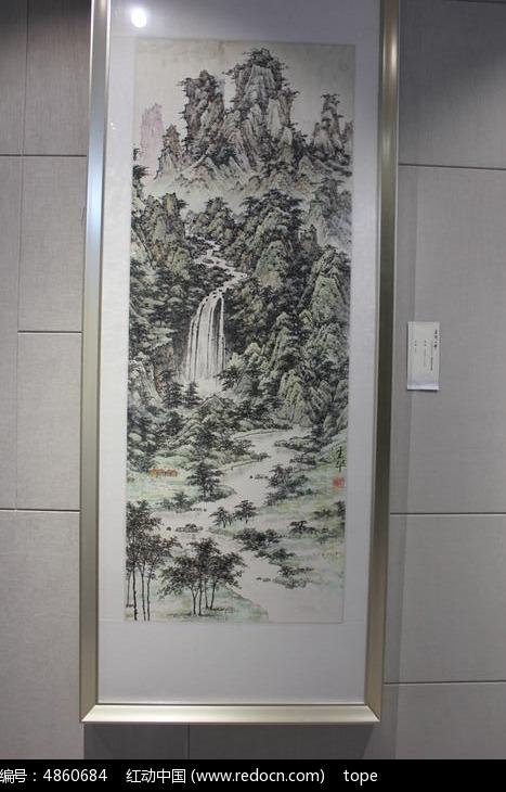 书画院高山流水水墨图片图片