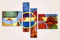 三联抽象画现代简约抽象油画