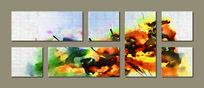 三联抽象装饰画背景墙