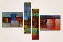 三联画抽象油画