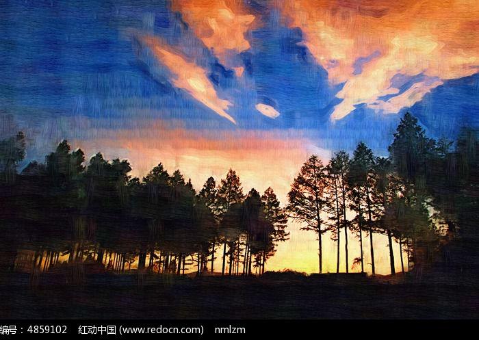 电脑油画《树林夕阳》