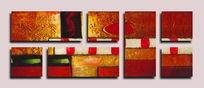 三联抽象装饰画无框画