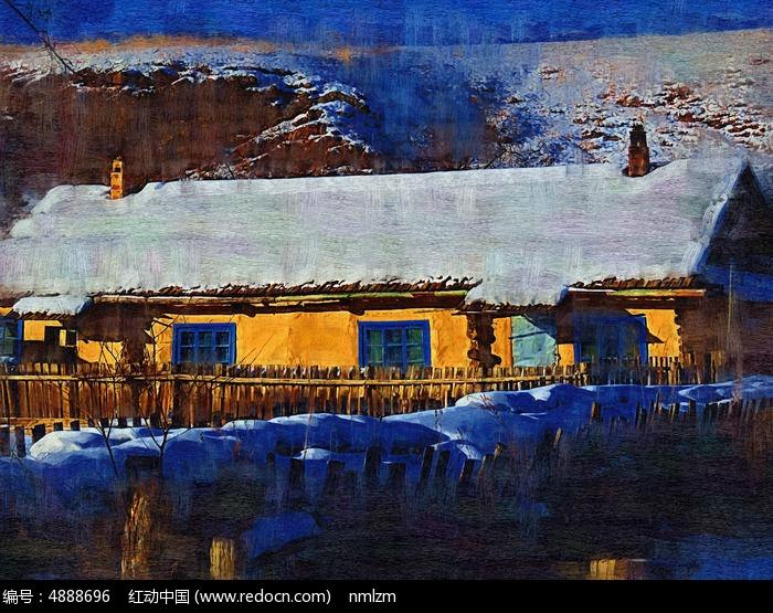 电脑油画《雪村农家院》