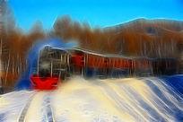 电脑画《林海雪原小火车》