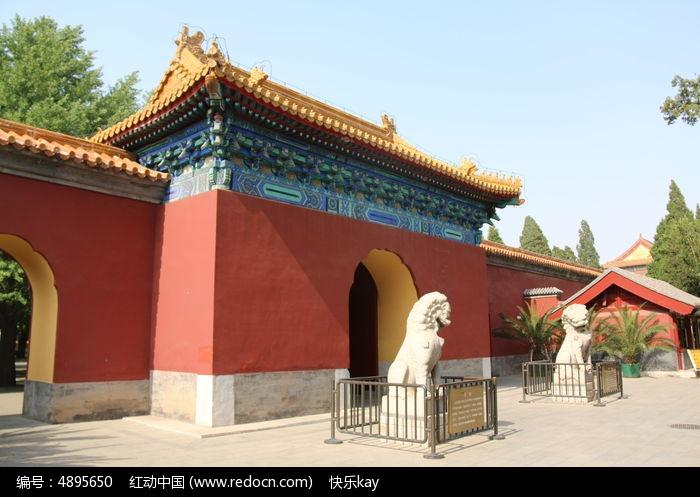 古代建筑红墙绿瓦