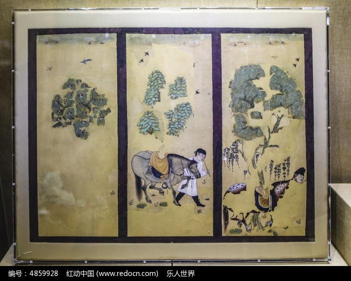原创摄影图 艺术文化 古代字画 唐朝牧马图屏风画图片