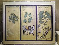 唐朝牧马图屏风画
