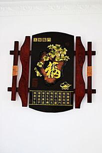 原木葫芦浮雕雕刻装饰艺术品五福临门