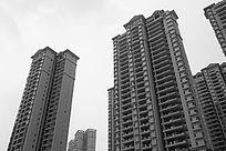 黑白摄影高楼大厦建筑群房地产住宅区