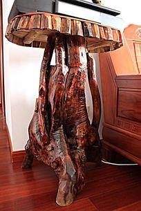 红木家居实木雕刻艺术树桩桌子