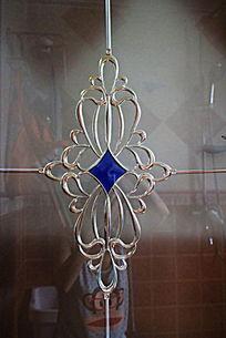 金属蓝色方块宝石欧式花纹门雕雕刻装饰艺术
