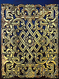 蒙古族风格木门装饰图案
