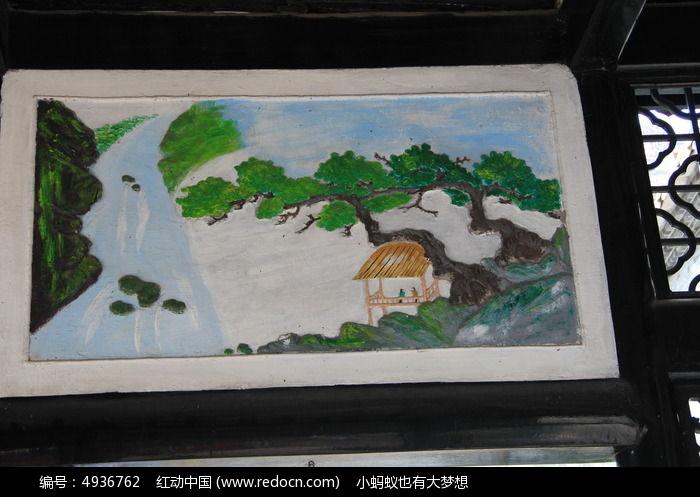 山脉亭子水彩画图片