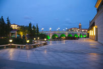 欧式园林建筑广场夜景