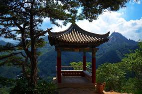 一线天山顶上的松树与观景亭