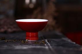 祭红高足杯 景德镇瓷