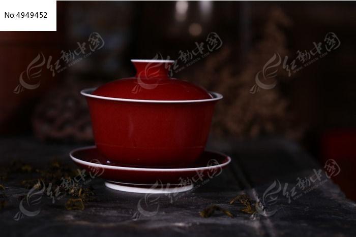 景德镇祭红盖碗图片