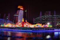 灯火阑珊的城市夜景