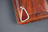 包银祭红古瓷片首饰