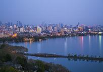 杭州西湖风景区夜晚景观