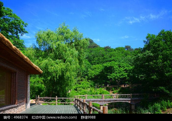 原创摄影图 自然风景 森林树林 桃花溪谷水上建筑与远处的山林  请您
