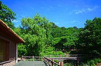 桃花溪谷水上建筑与远处的山林