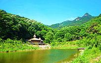 桃花溪谷水上小房与远处的山林
