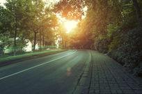 阳光晒在公路上