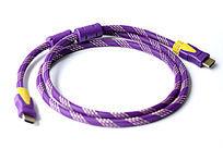 紫色usb接口双头电脑数据线