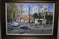 城市风景油画图片