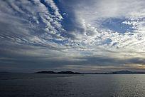 青岛海上的晚霞