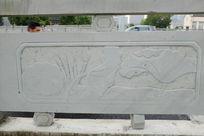荷花叶子桥体石刻浮雕