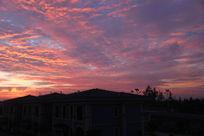 红霞满天的清晨