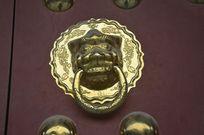 仿古兽头铜钮门环