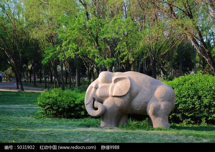 鞍山立山孟泰公园里的一只石象