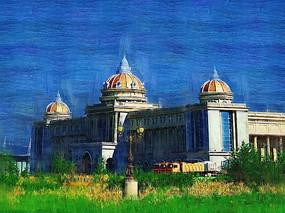 电脑油画《俄式建筑》