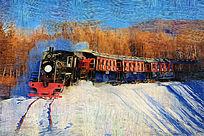 电脑油画《林海雪原小火车》