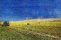 电脑油画《田野的秋天》