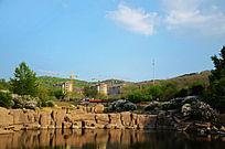 鞍山立山孟泰公园里的湖与山