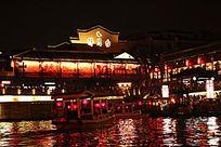 秦淮河畔灯火辉煌夜景