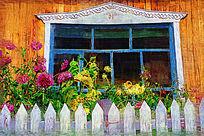电脑油画《雕花窗子》