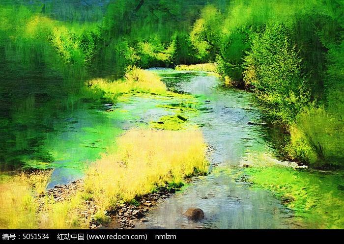 电脑油画《山林小溪》图片